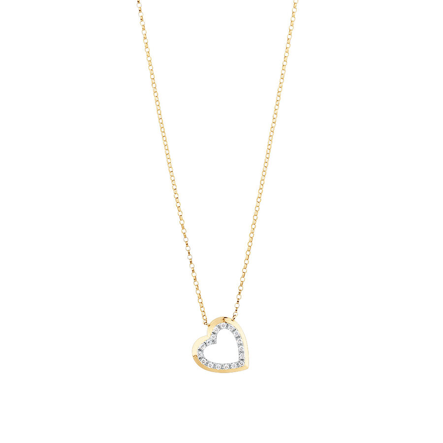 Heart Necklace With 0.10 Carat TW Diamonds In 10kt Yellow Gold