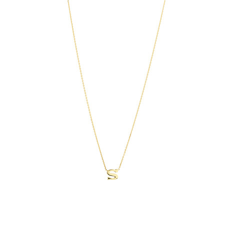 """S"" Initial Necklace in 10kt Yellow Gold"