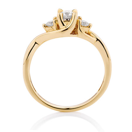 Three Stone Engagement Ring with 1/3 Carat TW of Diamonds in 10kt Yellow Gold
