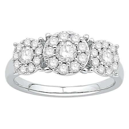 Three Stone Cluster Ring with 1.00 Carat TW of Diamonds in 10kt White Gold