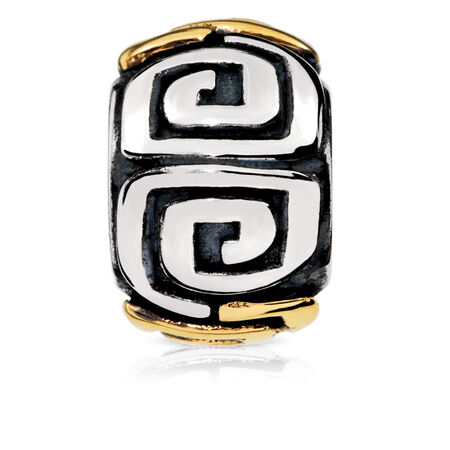 Patterned Charm in Sterling Silver & 10kt Yellow Gold