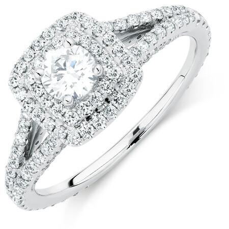 Sir Michael Hill Designer GrandArpeggio Engagement Ring with 0.95 Carat TW of Diamonds in 14kt White Gold