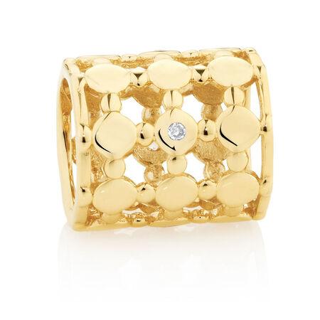 Diamond Set Wild Hearts Barrel Charm in 10kt Yellow Gold