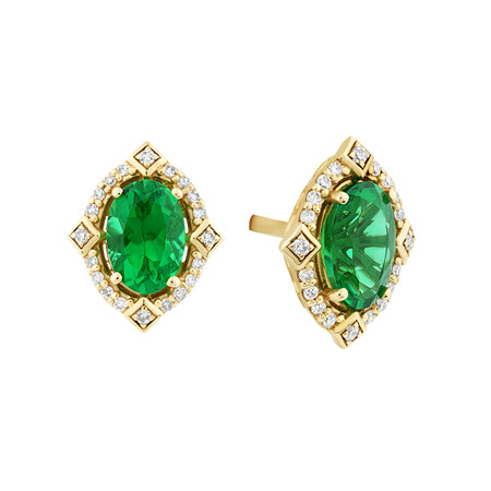 Halo Earrings With Created Emerald & Diamonds in 10kt Yellow Gold