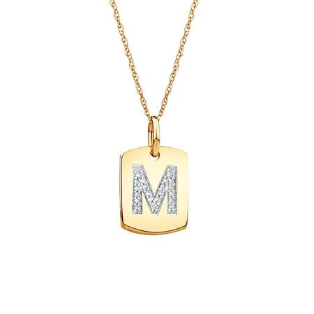 """M"" Initial Rectangular Pendant With Diamonds In 10ct Yellow Gold"