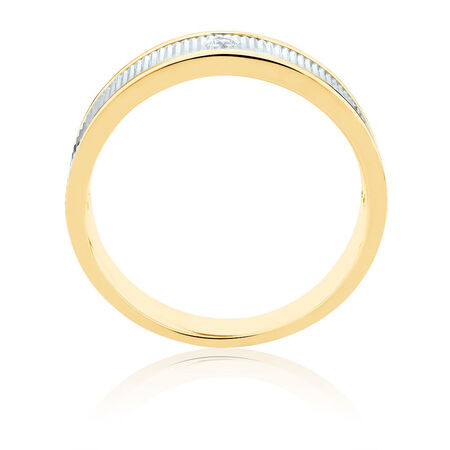 Men's Ring with Diamonds in 10kt Yellow & White Gold
