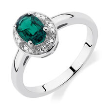 Halo Ring with Created Emerald & Diamonds in Sterling Silver