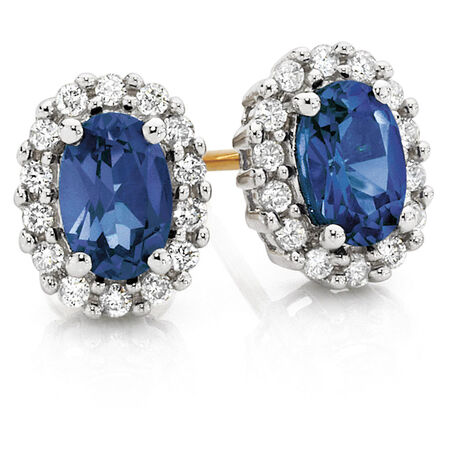 Stud Earrings with Created Sapphire & 0.19 TW Carat of Diamonds in 10kt Yellow & White Gold