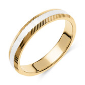 Patterned Wedding Band in 10kt Yellow & White Gold