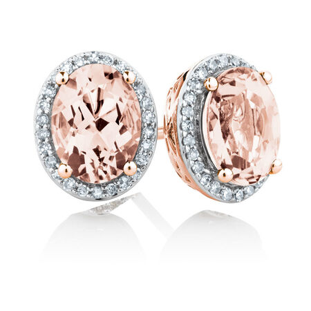 Stud Earrings with Created Peach Sapphire & 0.15 Carat TW of Diamonds in 10kt Rose Gold