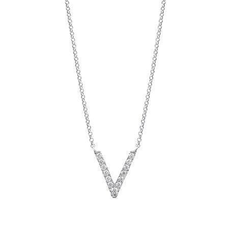 """V"" Initial necklace with 0.10 Carat TW of Diamonds in 10kt White Gold"
