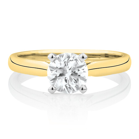 Evermore Engagement Ring with 1 Carat TW of Diamonds in 14kt Yellow & White Gold