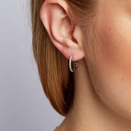 Hoop Earrings with 1/4 Carat TW of Diamonds in Sterling Silver