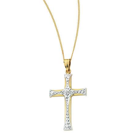 Cross Pendant in 10kt Yellow & White Gold