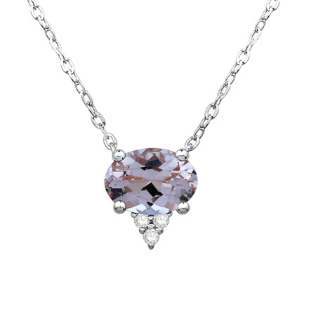 Necklace with Green Amethyst and Diamond in 10kt White Gold