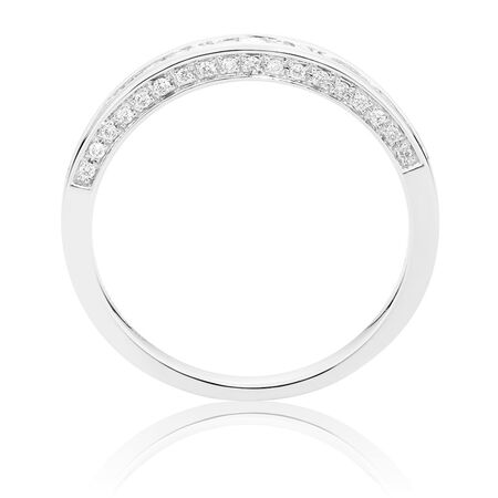Ideal Cut Wedding Band with 0.35 TW of Diamonds in 14kt White Gold
