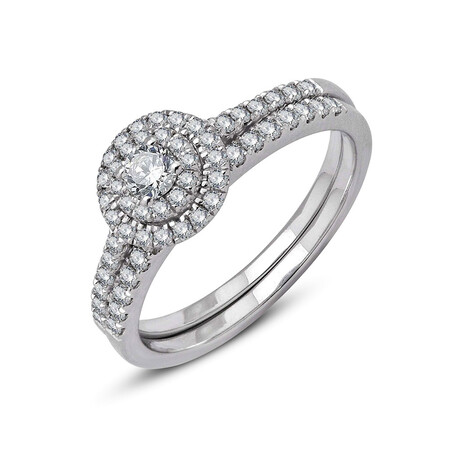 Bridal Set with 0.57 Carat TW of Diamonds in 14kt White Gold