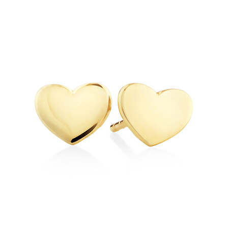 Polished Heart Stud Earrings In 10kt Yellow Gold
