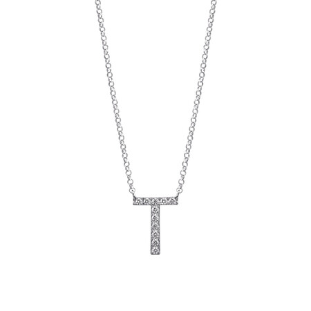 """""""T"""" Initial necklace with 0.10 Carat TW of Diamonds in 10kt White Gold"""