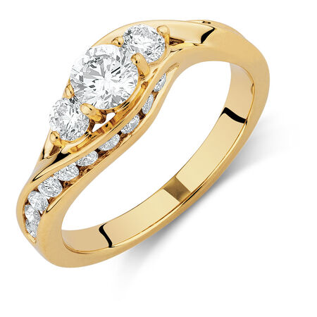 Engagement Ring with 1 Carat TW of Diamonds in 14kt Yellow Gold