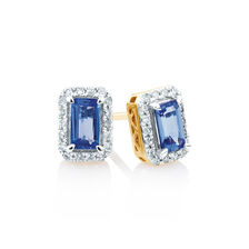Stud Earrings with Tanzanite & 0.15 Carat TW of Diamonds in 10kt Yellow & White Gold