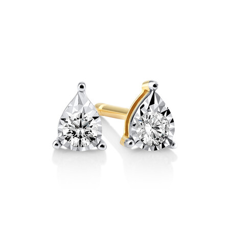Pear Stud Earrings with 0.10kt TW Diamonds in 10kt Yellow Gold