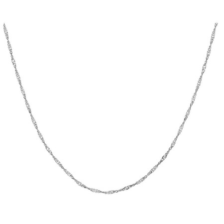 """55cm (21.5"""") Hollow Singapore Chain in 10kt White Gold"""