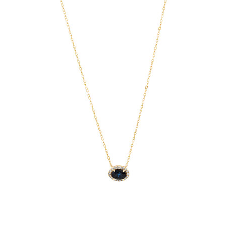 Halo Necklace with Sapphire & Diamonds in 10kt Yellow Gold