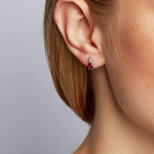 Stud Earrings with Created Ruby & Diamonds in 10kt White Gold