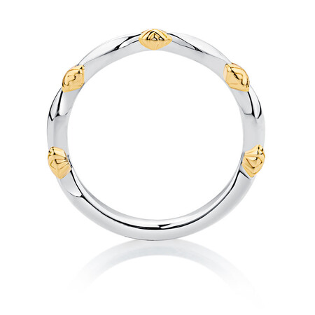 Sterling Silver & 10kt Yellow Gold Scalloped Stacker Ring