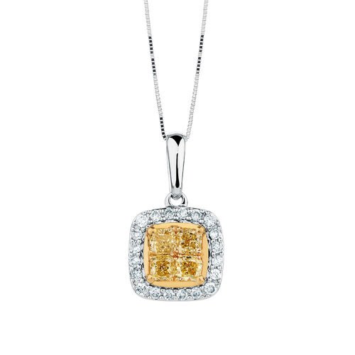 Pendant with 0.40 Carat TW of White & Natural Yellow Diamonds in 10kt Yellow & White Gold