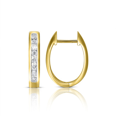 Channel Set Huggie Earrings with 0.40 Carat TW of Diamonds in 10kt Yellow Gold
