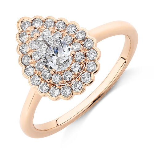 Evermore Halo Engagement Ring with 0.75 Carat TW of Diamonds in 14kt Rose Gold