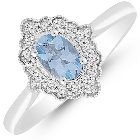 Ring with Aquamarine & 0.12 Carat TW of Diamonds in 10kt White Gold