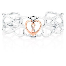 Infinitas Cuff with Diamonds in 10kt Rose Gold & Sterling Silver