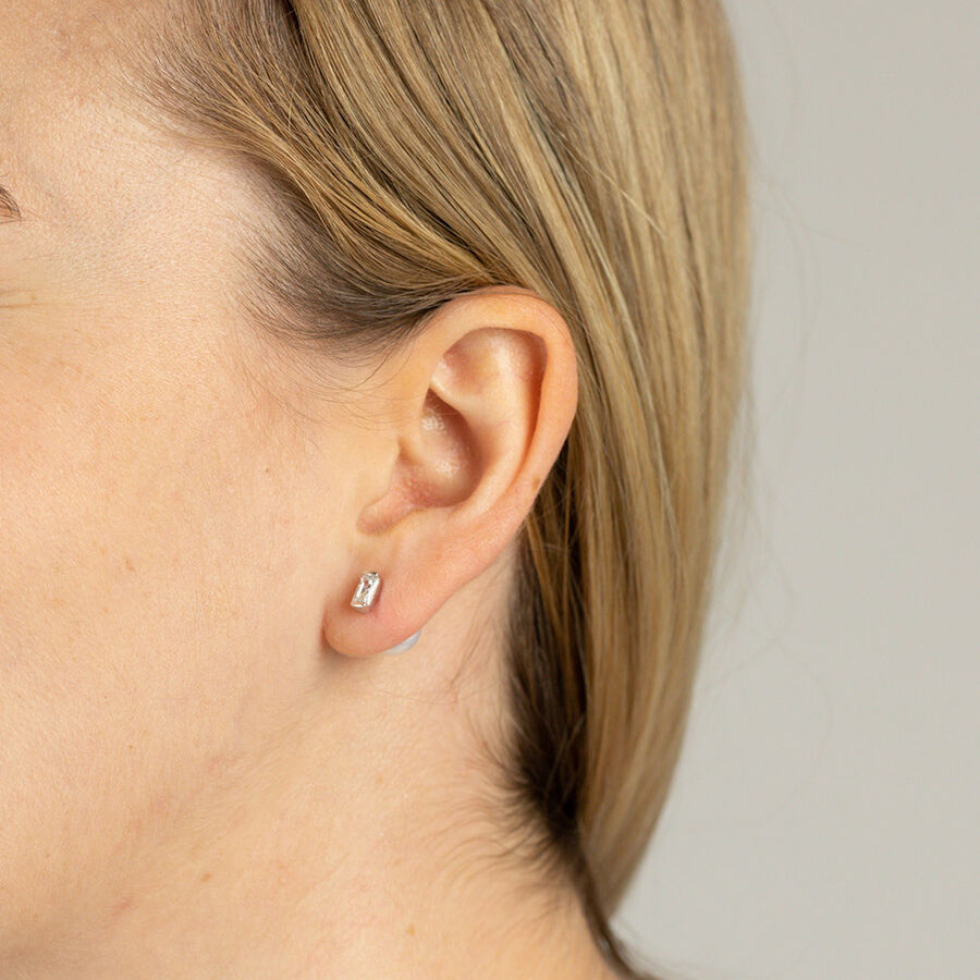 Stud Earrings with Cultured Freshwater Pearls & Cubic Zirconia in Sterling Silver