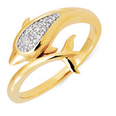 Dolphin Ring with Diamonds in 10kt Yellow Gold