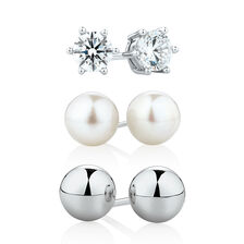 Stud Earrings Box Set with Cubic Zirconia & Cultured Freshwater Pearls in Sterling Silver