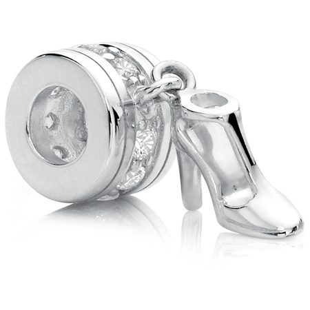 Cubic Zirconia & Sterling Silver High Heel Charm