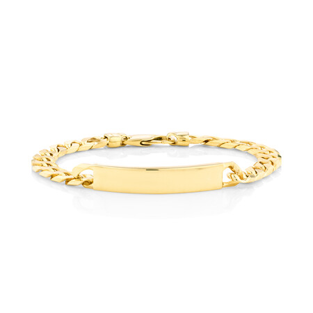 "23cm (9.5"") Flat Curb ID Bracelet In 10kt Yellow Gold"