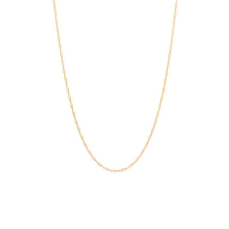 "50cm (20"") Adjustable Twist Chain in 10kt Yellow Gold"