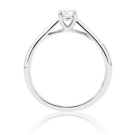 Ideal Cut Solitaire Engagement Ring with a 0.30 Carat Diamond in 14kt White Gold & Platinum