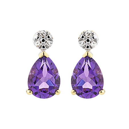 Stud Earrings with Amethyst & Diamonds in 10kt Yellow Gold