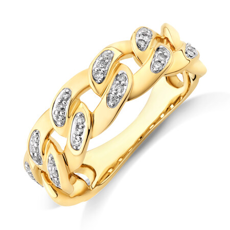 Link Ring with 0.15 Carat TW of Diamonds in 10kt Yellow Gold