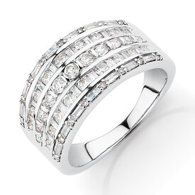 Multi Row Ring with 1 Carat TW of Diamonds in 10kt White Gold