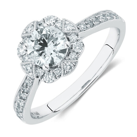 Engagement Ring With 1.03 Carat TW Of Diamonds In 14kt White Gold