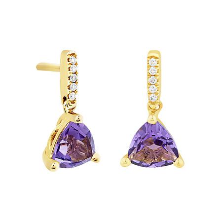 Amethyst Drop Earrings with 0.03 Diamonds in 10kt Yellow Gold