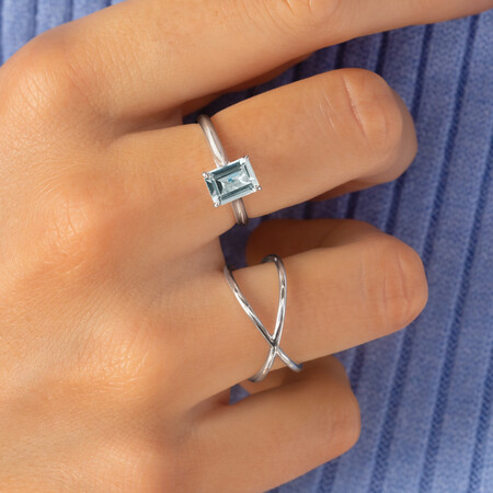 Geometric Ring in 10kt White Gold