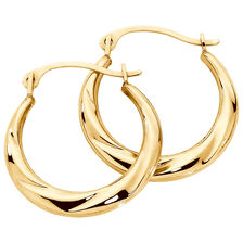 17mm Patterned Hoop Earrings In 10kt Yellow Gold
