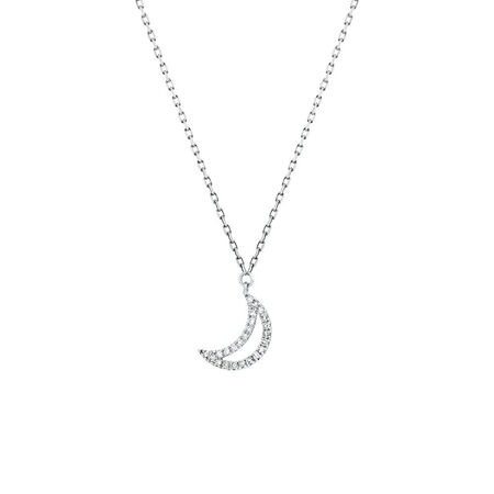 Half Moon Pendant With Diamonds In 10kt White Gold